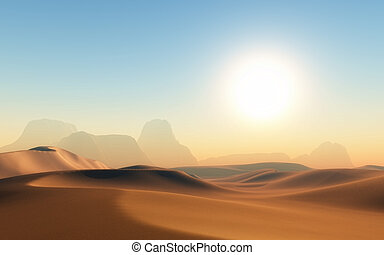3d, escena, desierto