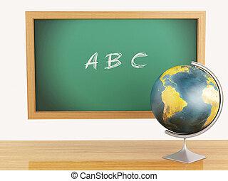 3d, escola, educação, conceito