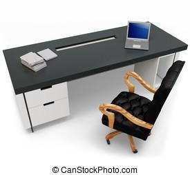 3d, escritorio, con, computador portatil, y, silla ejecutiva