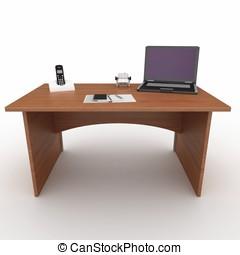 3d, escritorio de oficina, con, computador portatil