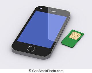 3d, esperto, telefone móvel, e, sim, cartão