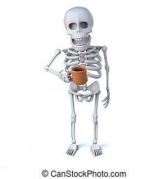 3d, esqueleto, bebendo, um, agradável, xícara chá