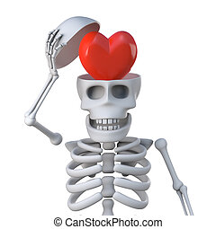 3d, esqueleto, tem, um, coração, para, um, cérebro