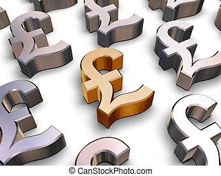 3d, esterlino, libra, símbolos