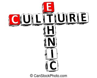 3D Ethnic Cultures Crossword on white background