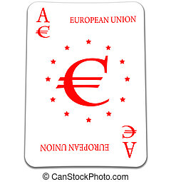 3D euro card with currency symbol