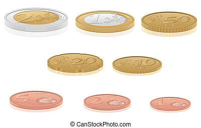 3d euro coins - Euro coins set isolated on a white...