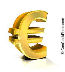 3d, euro, dorato, simbolo