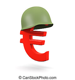 3d Euro symbol with army helmet