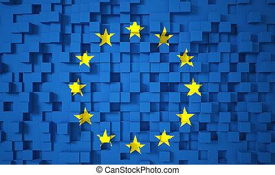 3d europe flag