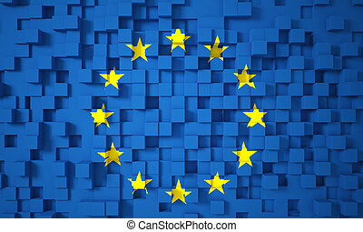 3d europe flag geometric background