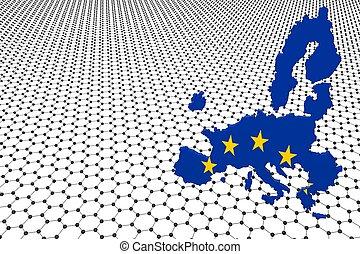 3d, europeo, encima, graphene, infinito, mapa, sheet.