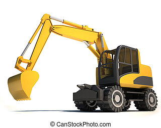 3d excavator illustration