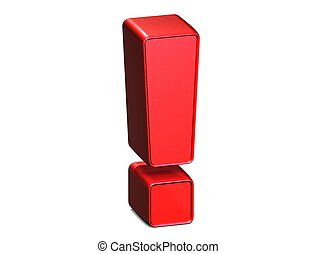 3D Exclamation Mark Red Sign