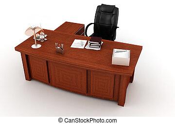 3d, executivo, escrivaninha, branco