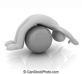 3d, exercitar homem, posição, ligado, condicão física, ball., meu, maior, pilates, série