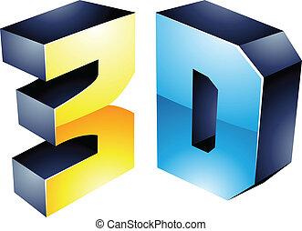 3d, exhibición, tecnología, símbolo