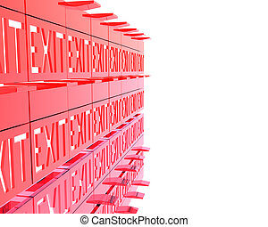3D exit red signs isolated on a white