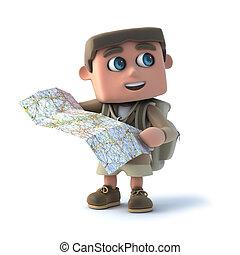 3d Explorer kid reads a map - 3d render of a kid explorer...