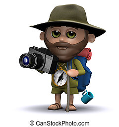 3d Explorer taking pictures with his camera - 3d render of...
