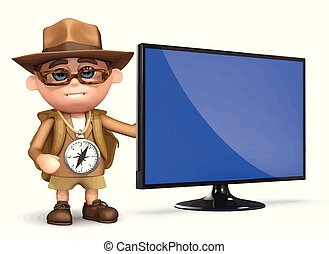 3d Explorer television - 3d render of Explorer kid with new...
