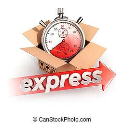 3d, expresso, entrega, conceito