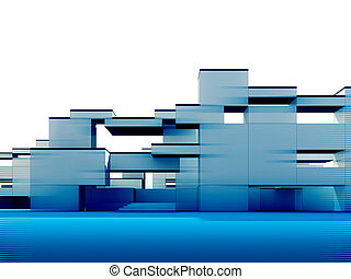 3d exterior - Constructivism & minimalism style, 3d rendered...