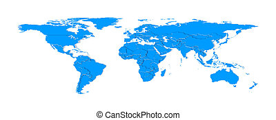 3d extruded countries borders worldmap (blue) - 3d objects...