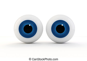 3d eyes on white background