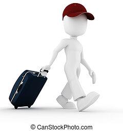 3D, férias, viajante, homem