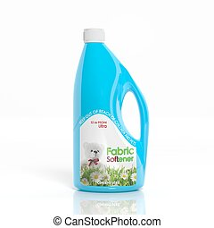3D Fabric Softener plastic bottle isolated on white...