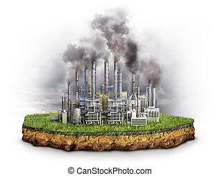 3d, factories., イラスト, 環境, 概念, 影響, factory.