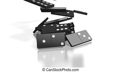 3D falling black domino tiles, white background.