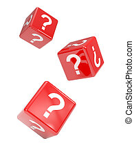 3d Falling red dice marked with question marks