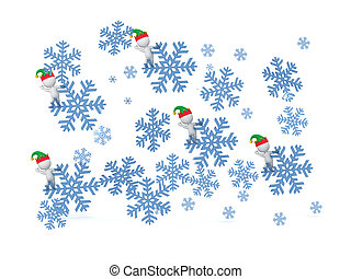 3D Falling Snowflakes with Small 3D Characters