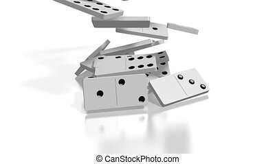 3D falling white domino tiles, white background.