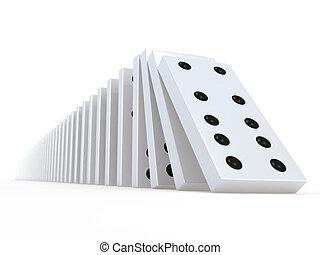 3d Falling white dominoes