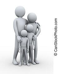 3d, família feliz, membro