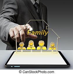 3d, famiglia, pixel, icona, e, tavoletta, computer, come, concetto