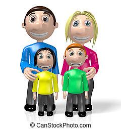 3d, famille, concept, heureux, parenting