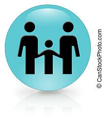 3d, famille, icône