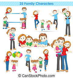 3d Family Collection - illustration of collection of 3d...