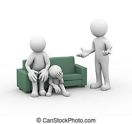 3d family conflict dispute couple - 3d illustration of upset...