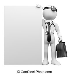 3D family doctor with a blank poster