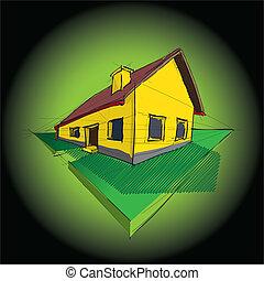 3d family house on dark green background - illustration