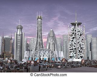 3d, fantascienza, modello, città