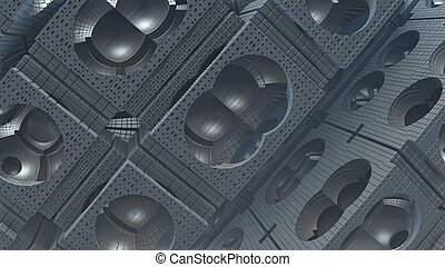 3D fantasy abstract background from strange shapes, 3D illustration