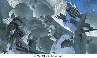3D fantasy abstract blue background from strange shapes, 3D illustration