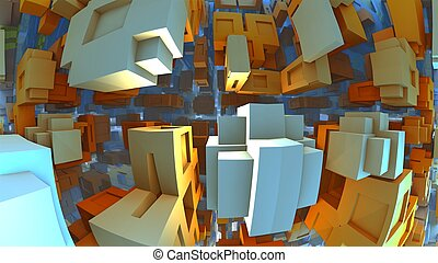 3D fantasy background from strange shapes, 3D illustration