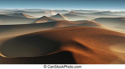 3D Fantasy desert landscape with great sand dunes